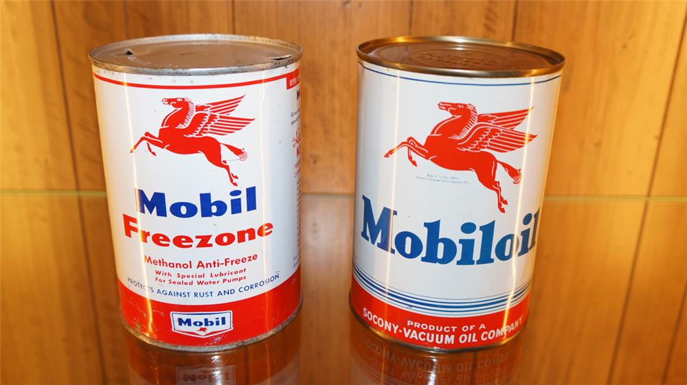 Lot of two circa 1940's-50's Mobil oil metal quart cans.  Condition: Excellent + - Front 3/4 - 179200