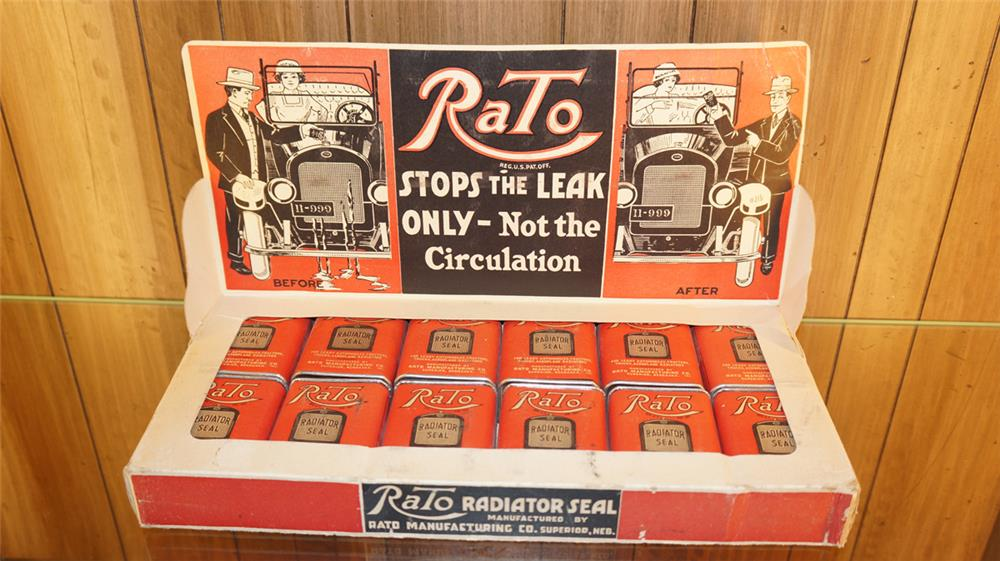 Ultra scarce 1920's Rato Radiator Seal garage display still full of unused tins with great graphics - Front 3/4 - 179202