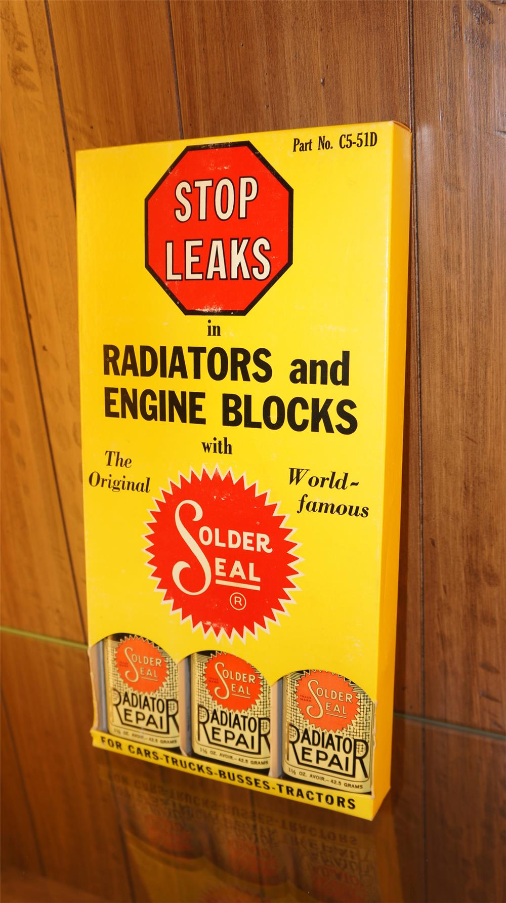 N.O.S. 1940's-50's  Solder Seal Radiator Repair counter top display still full of unused tins. - Front 3/4 - 179203