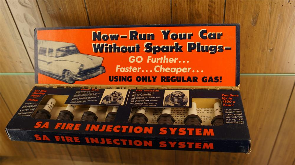 N.O.S. 1950's SA Fire injection sparkplugs in original counter-top display box. - Front 3/4 - 179204