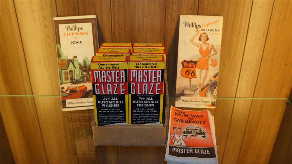 Lot consisting of Master Glaze automotive finish kits with N.O.S.  brochures,  a 1933 Phillips 66 road map and a 1920's Philips 66 road map. - Front 3/4 - 179207