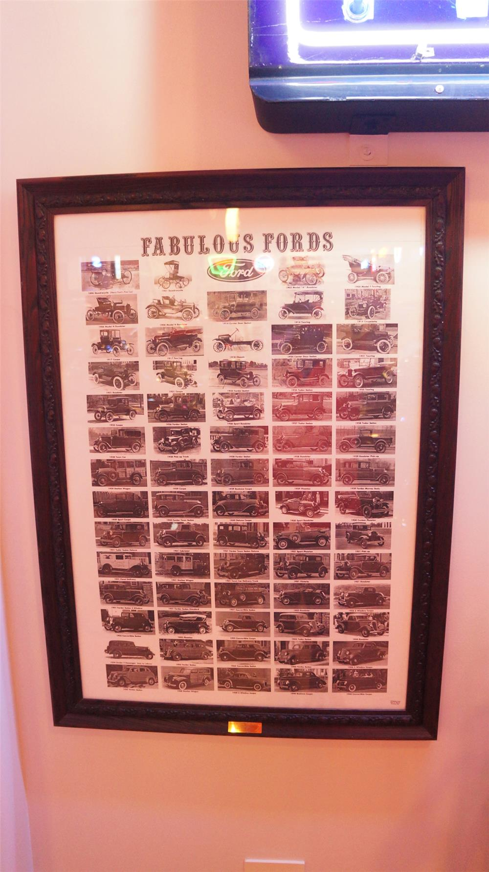 Framed Fabulous Fords poster display featuring notable Fords from the 1896 Quadracycle thru 1940 convertible coupe - Front 3/4 - 179210