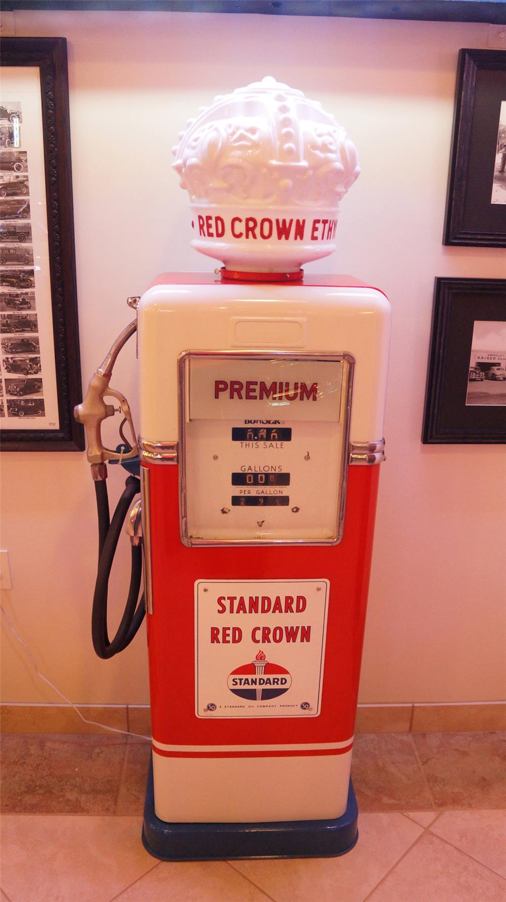 Sharp Standard Oil Bowser service station gas pump restored   with original Ethyl globe atop.  Older restoration and globe has sustained some damage. - Front 3/4 - 179212