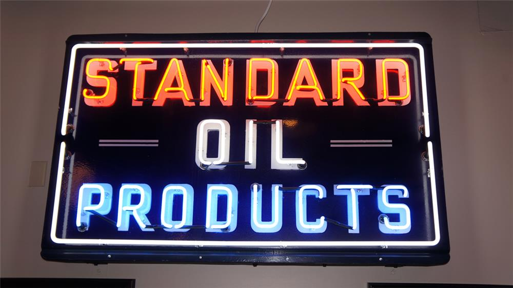 Impressive 1930's-40's Standard Oil Products single-sided neon porcelain service station sign. - Front 3/4 - 179213