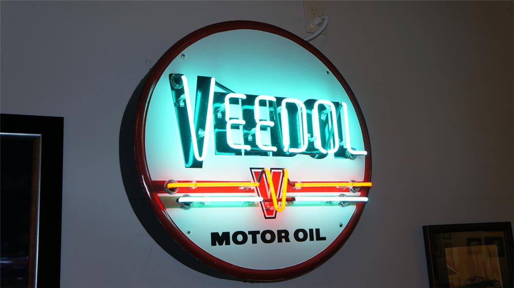 Vintage Veedol Motor Oil single-sided porcelain with neon service station sign. - Front 3/4 - 179216