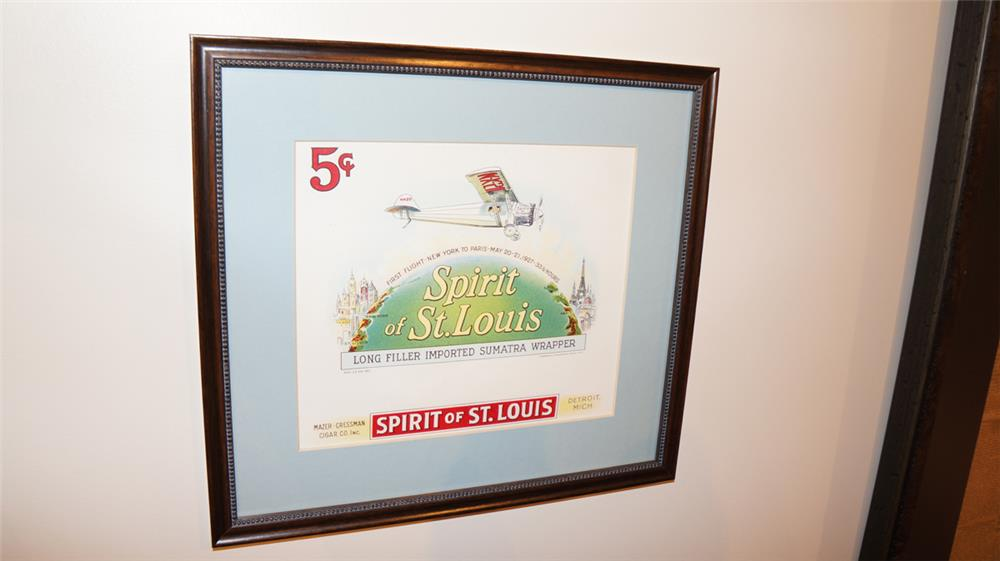 N.O.S. 1920's Spirit of St. Louis 5 cent cigars unused box label. - Front 3/4 - 179240