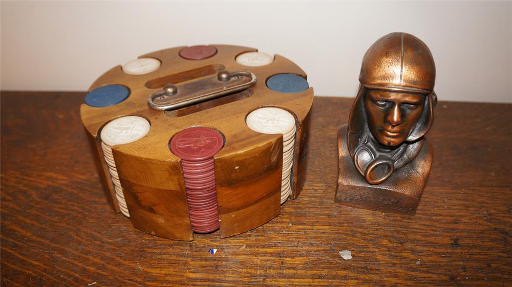 1930's Bakelite poker chips featuring Spirit of St Louis and a Lindbergh Bronze bust. - Front 3/4 - 179254