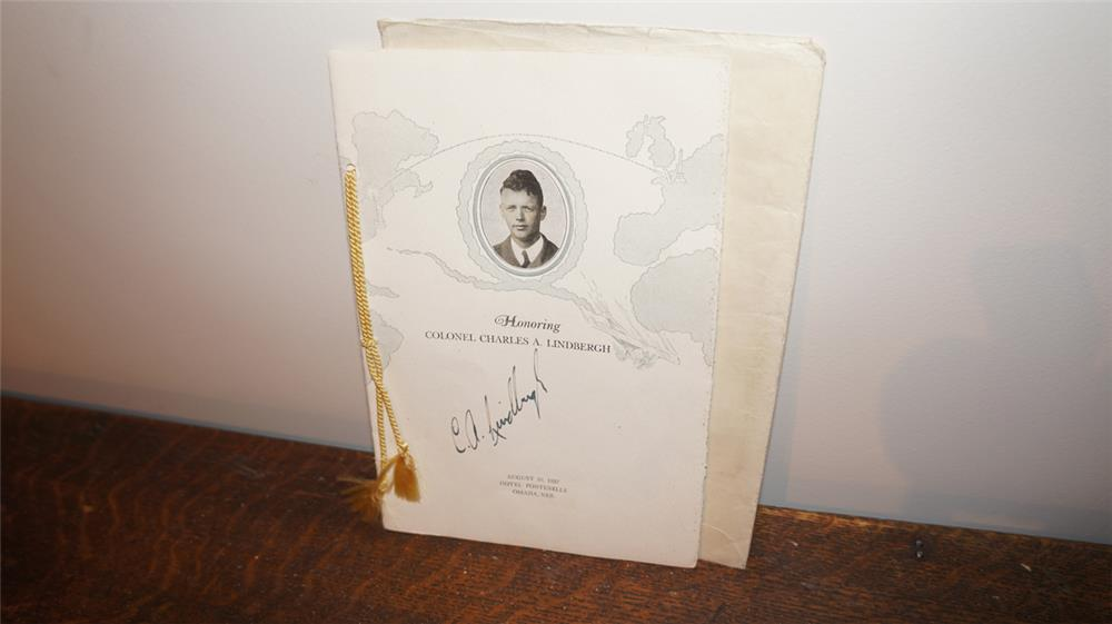 1927 Charles Lindbergh Omaha Nebraska reception program signed by Charles Lindbergh. - Front 3/4 - 179255