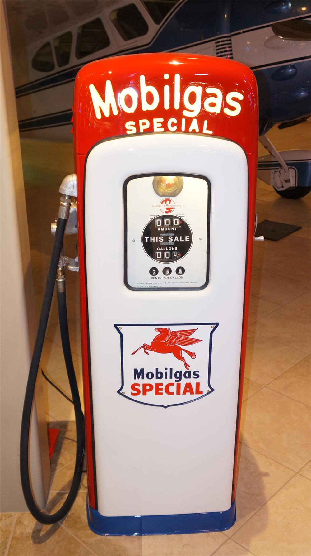Late 1940's Mobil Gas special lighted script top M/S 80 restored gas pump. - Front 3/4 - 179264