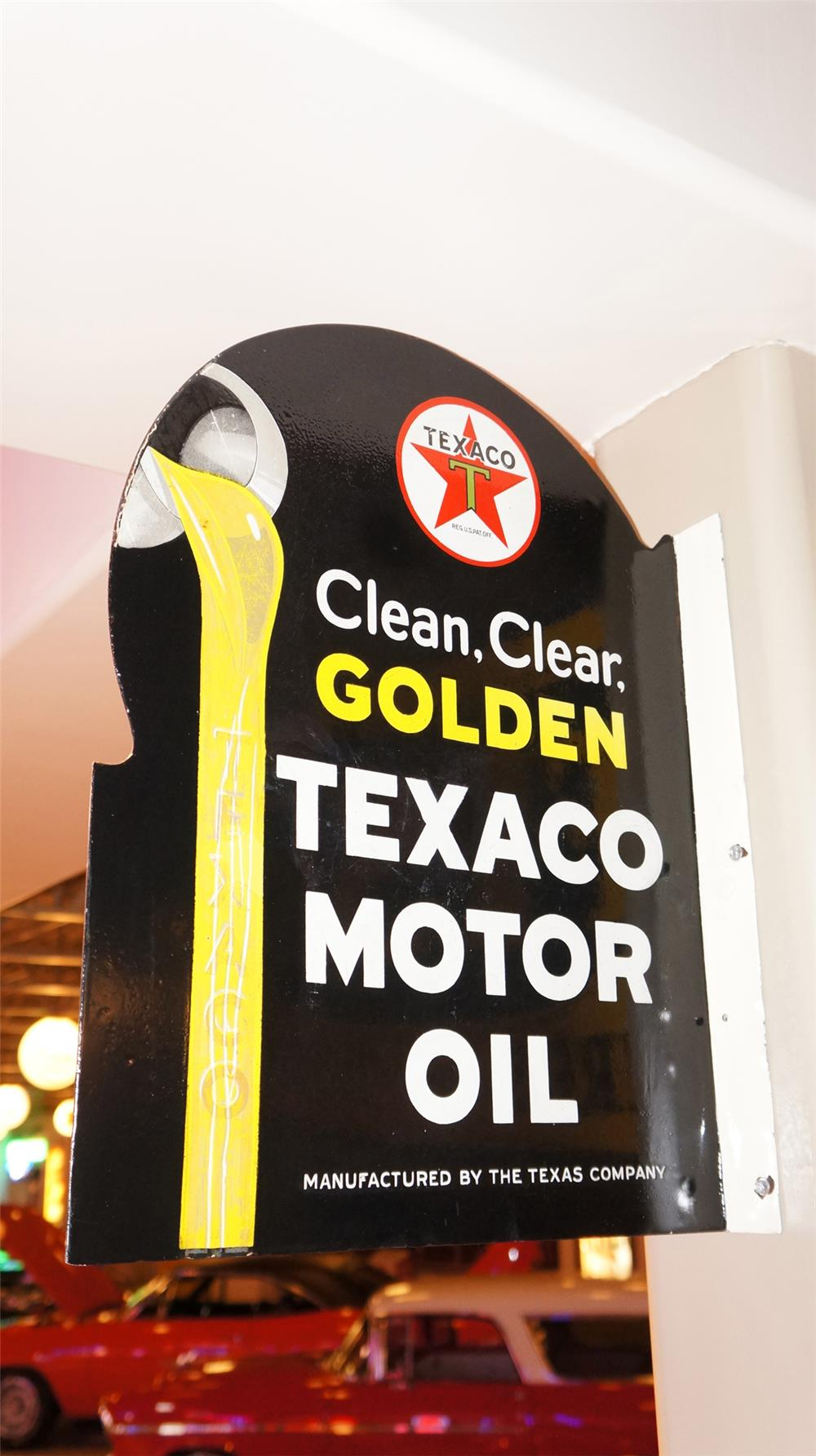 Good looking 1930's Texaco Clean, Clear, Golden porcelain flange sign. - Front 3/4 - 179265