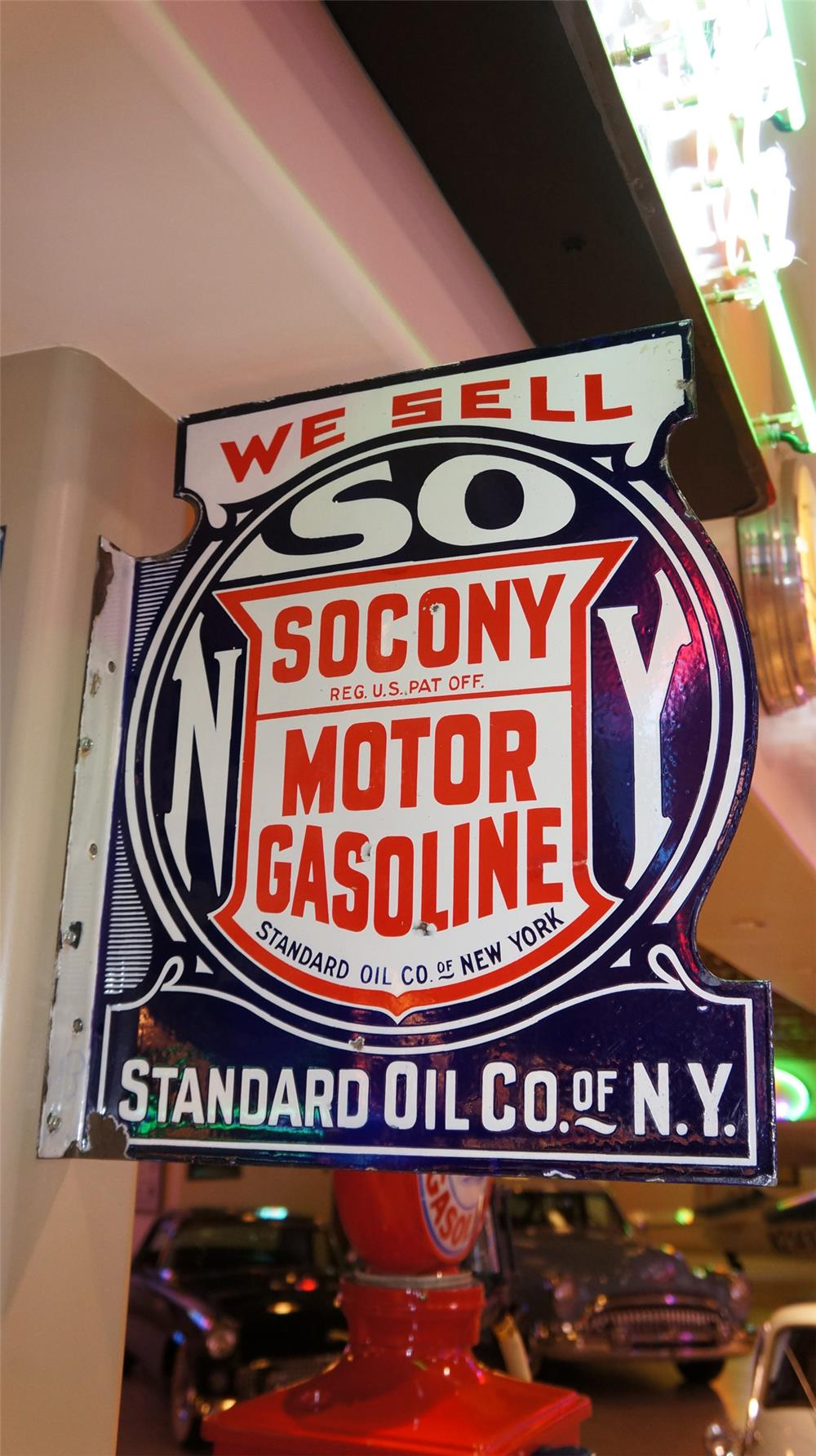 Late 20's-early 30's Socony Motor Gasoline double-sided porcelain service station flange sign. - Front 3/4 - 179270