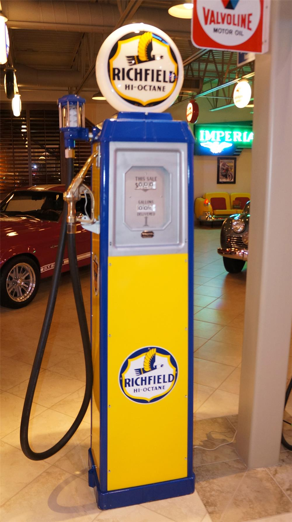 Late 1930's Richfield High Octane Wayne service station gas pump with older restoration. - Front 3/4 - 179276