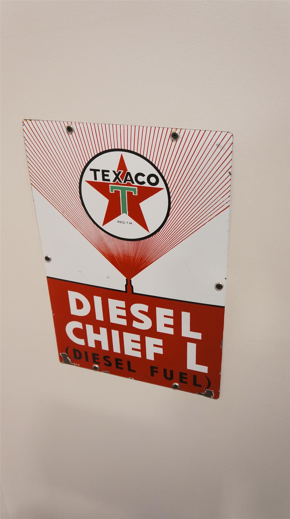 "N.O.S. Texaco Diesel Chief ""L"" single-sided porcelain pump plate sign with fuel injector graphic. - Front 3/4 - 179283"