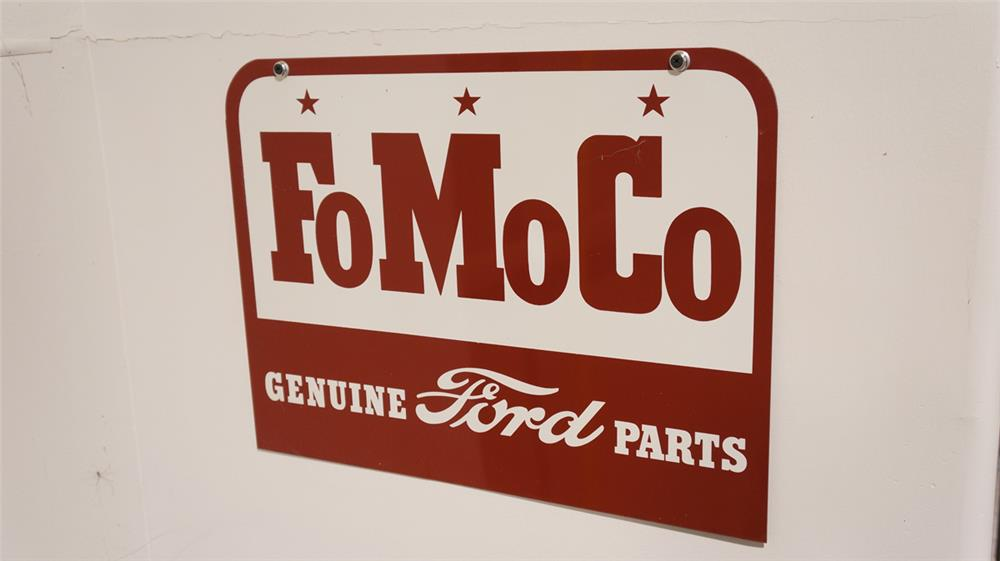 N.O.S. late 1950's Ford FoMoCo Genuine Parts double-sided tin service department sign. - Front 3/4 - 179285