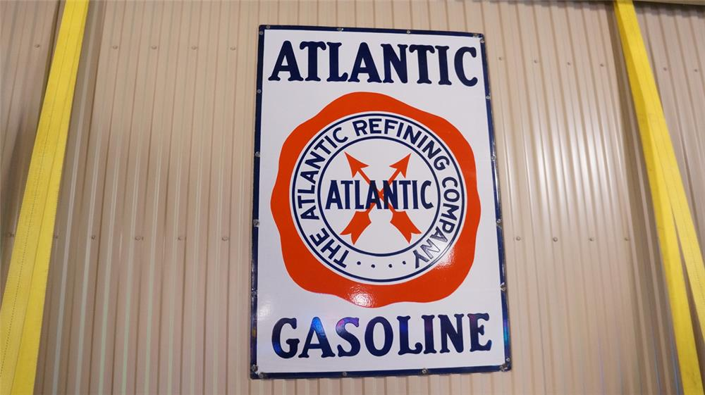 1930's Atlantic Gasoline single-sided porcelain filling station sign with logo. - Front 3/4 - 179298