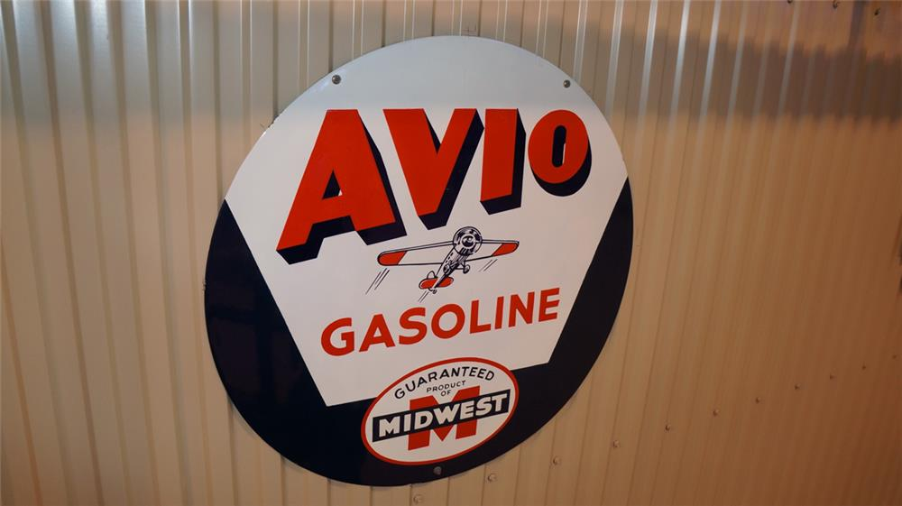 Rare Midwest Oil Avio Gasoline restored service station sign with airplane graphic. - Front 3/4 - 179299