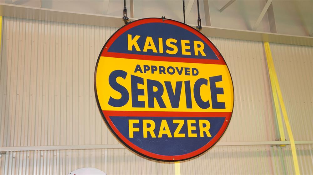 N.O.S. circa early 1950's Kaiser-Frazer Approved Service double-sided porcelain dealership sign still in the original hanger. - Front 3/4 - 179303