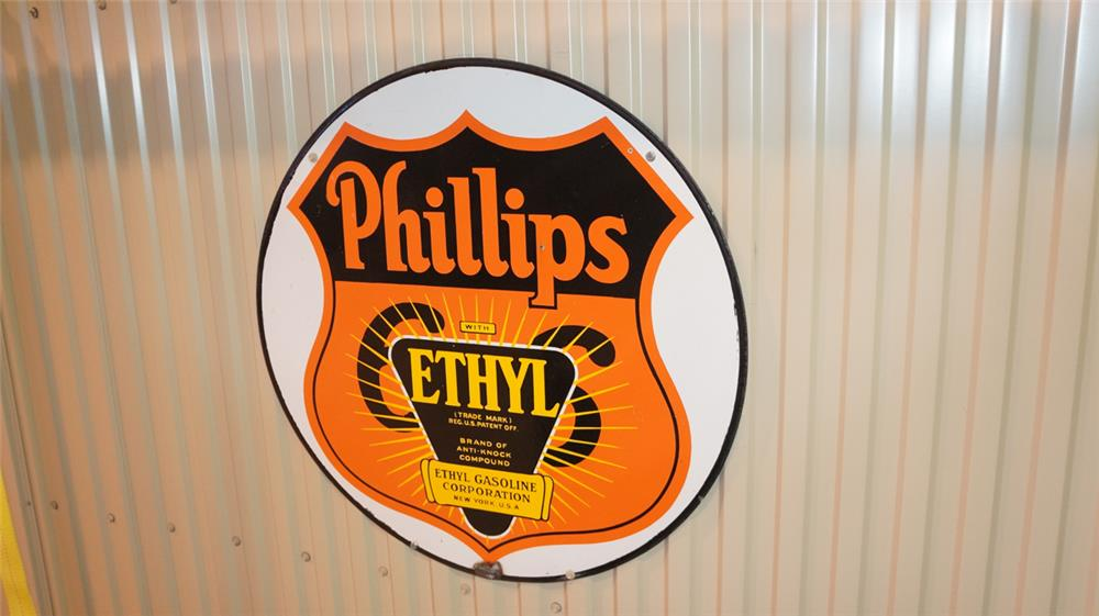1930's Phillips 66 double-sided porcelain sign with Ethyl burst. - Front 3/4 - 179306