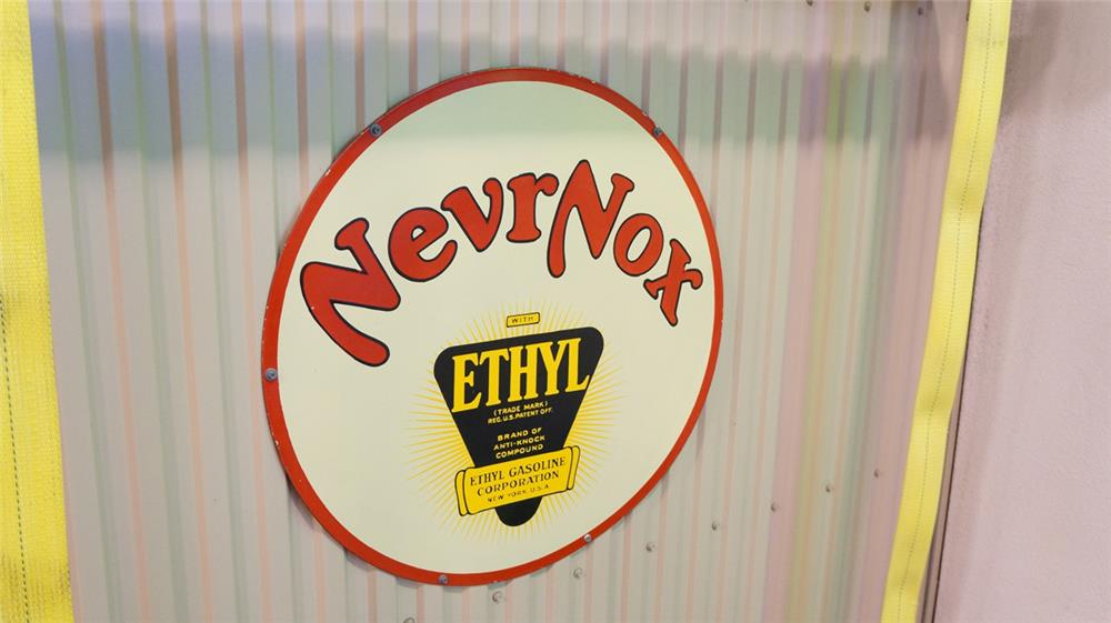 1930's Nevr-Nox with Ethyl Gasoline double-sided porcelain service station sign. - Front 3/4 - 179307