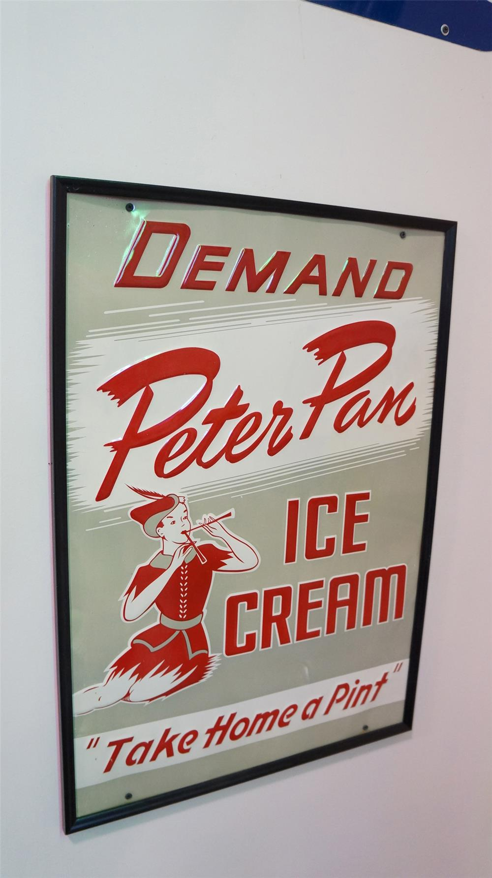 N.O.S. Peter Pan Ice Cream singe-sided embossed tin diner sign - Front 3/4 - 179308