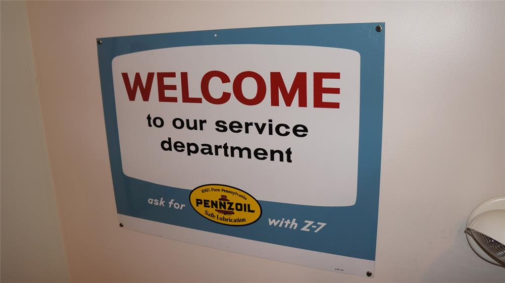 "N.O.S. 1969 Pennzoil ""Welcome to Our Service Department"" single-sided tin sign. - Front 3/4 - 179309"