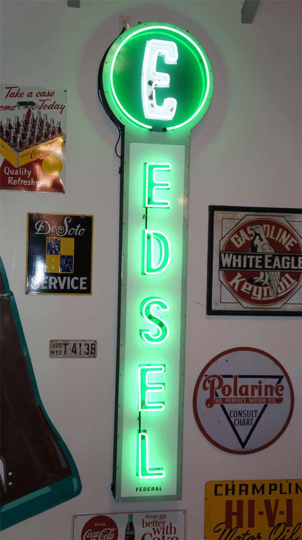 Ford Edsel Automobiles single-sided neon porcelain dealership sign. - Front 3/4 - 179317