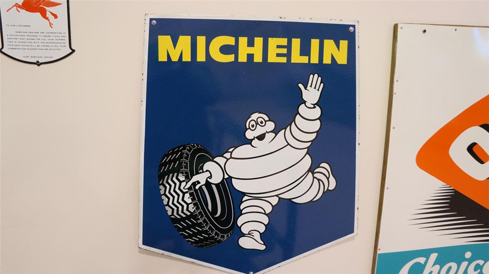 N.O.S. circa 1950s-60's  Michelin Tires single-sided porcelain sign - Front 3/4 - 179318