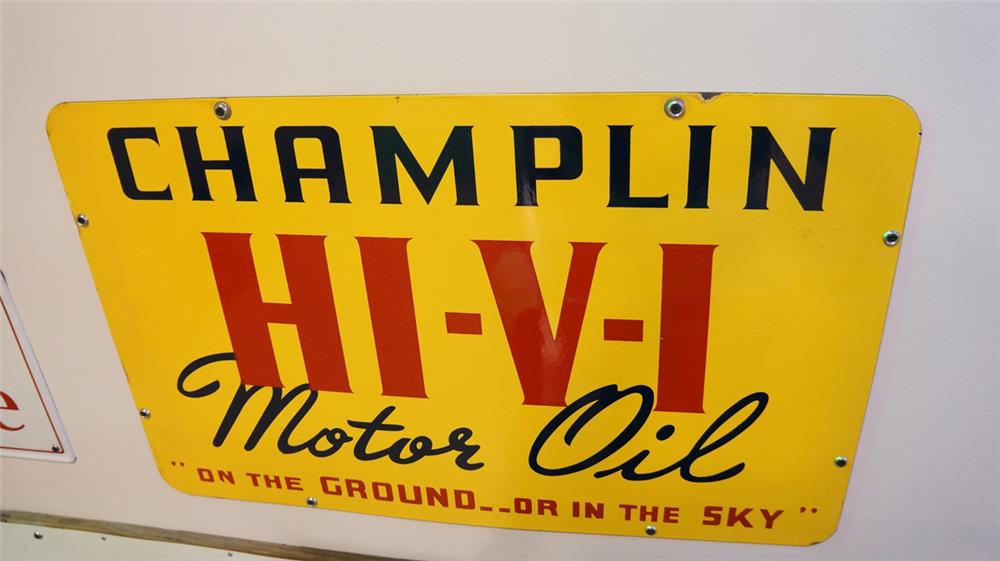 "N.O.S. 1930's-40's Champlin Hi-Vi Motor Oil ""On the Ground or in the Sky"" double-sided porcelain service station sign. - Front 3/4 - 179323"