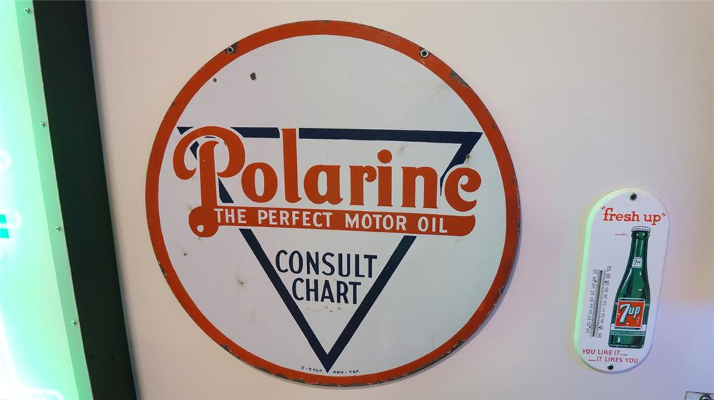 1930's Polarine Motor Oil double-sided porcelain service station sign. - Front 3/4 - 179326