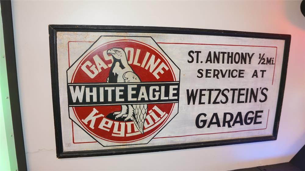 1920's White Eagle Gasoline single-sided tin wood framed garage sign with Eagle graphic. - Front 3/4 - 179327