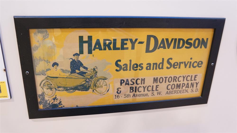 late teen's-early twenties Harley-Davidson Sales and Service framed dealership sign - Front 3/4 - 179330