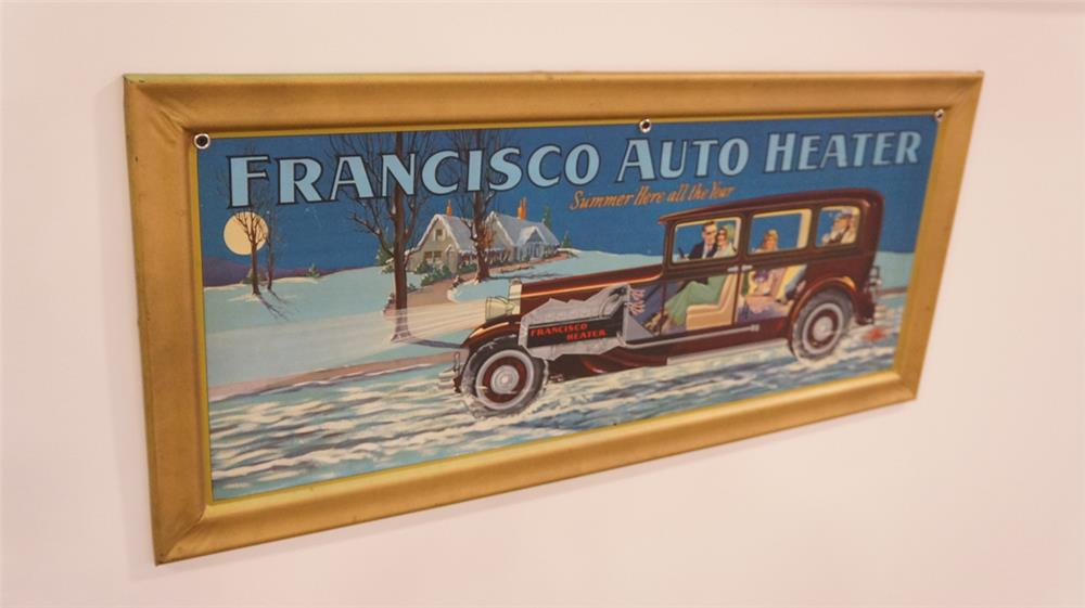 Killer late 1920's Francisco Auto Heater single-sided self-framed tin automotive garage sign - Front 3/4 - 179334