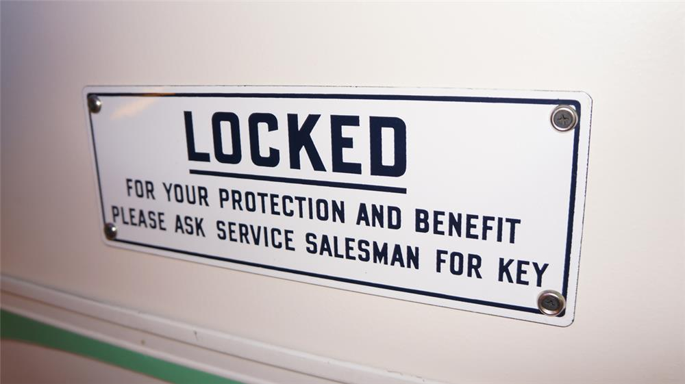 1950's Locked For Your Protection single-sided porcelain service station rest room sign. - Front 3/4 - 179339