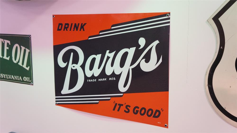 N.O.S. 1930's Drink Barq's Root Beer single-sided embossed tin soda sign. - Front 3/4 - 179351