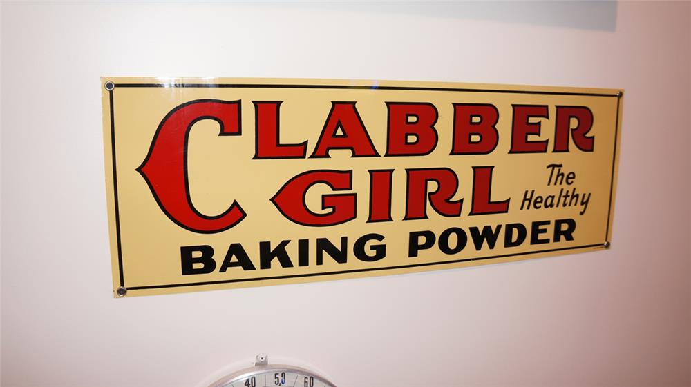 N.O.S. 1930's Clabber Girl Baking Powder single-sided tin general store sign. - Front 3/4 - 179359