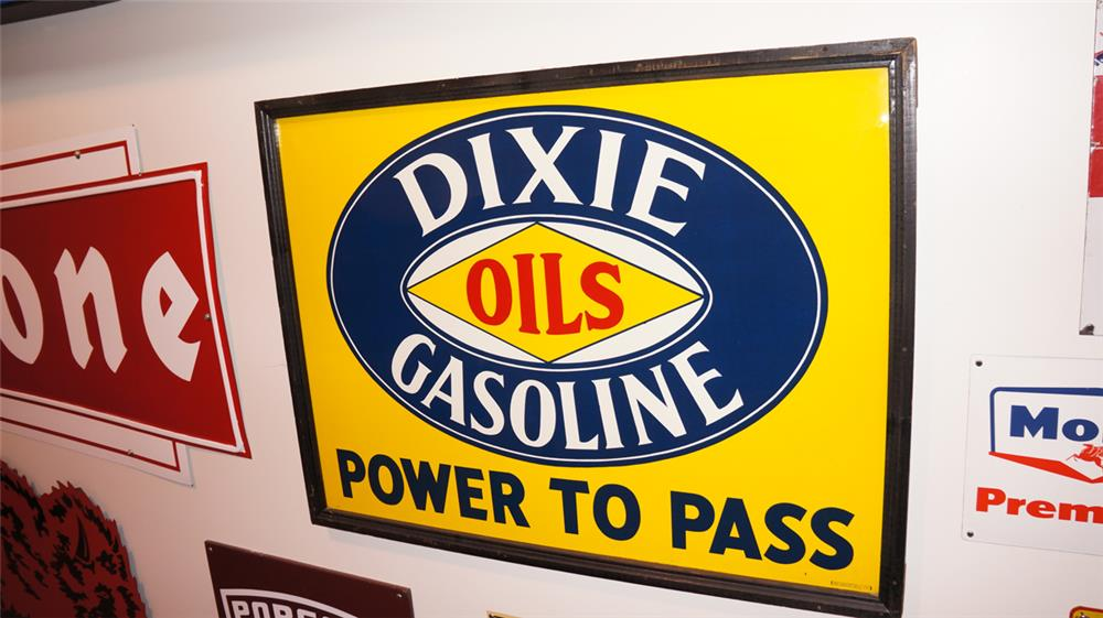 "1930's Dixie Oils-Gasoline ""Power to Pass"" single-sided tin wood framed service station sign. - Front 3/4 - 179362"