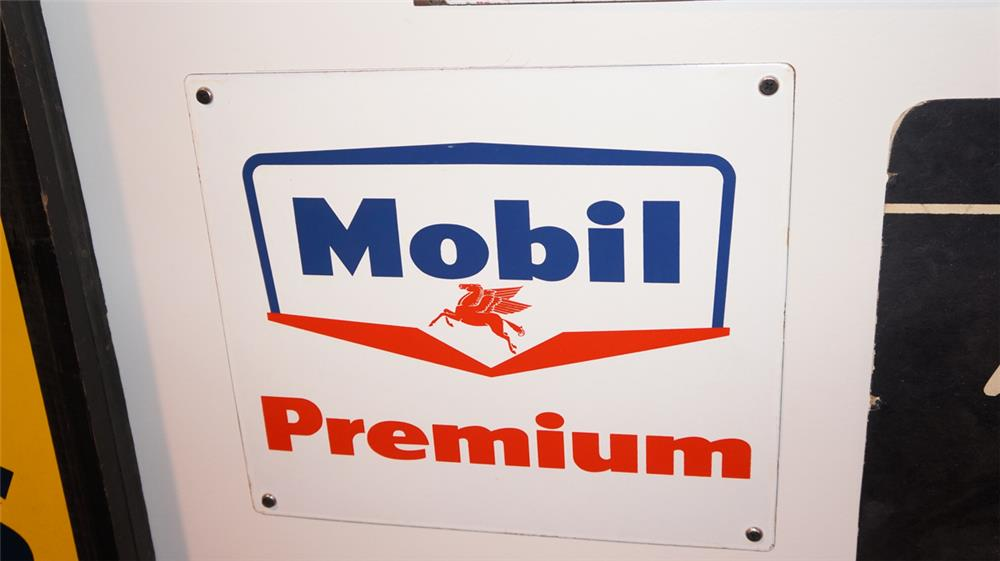 1950's Mobil Premium single-sided porcelain pump plate sign with Pegasus logo. - Front 3/4 - 179363