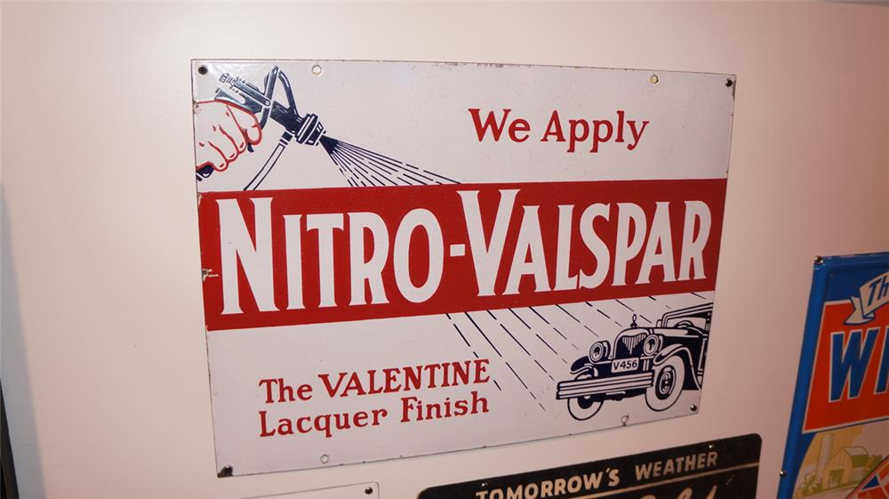 1930's Nitro Valspar double-sided porcelain automotive garage sign - Front 3/4 - 179365