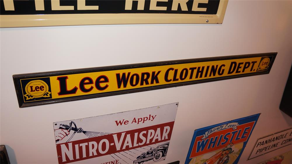 1930's Lee Work Clothing Department single-sided masonite with wood frame general store sign. - Front 3/4 - 179366