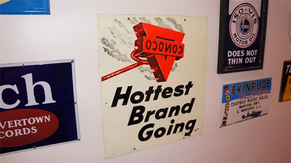 1950's Conoco Gasoline Hottest Brand Going single-sided tin service station sign. - Front 3/4 - 179371