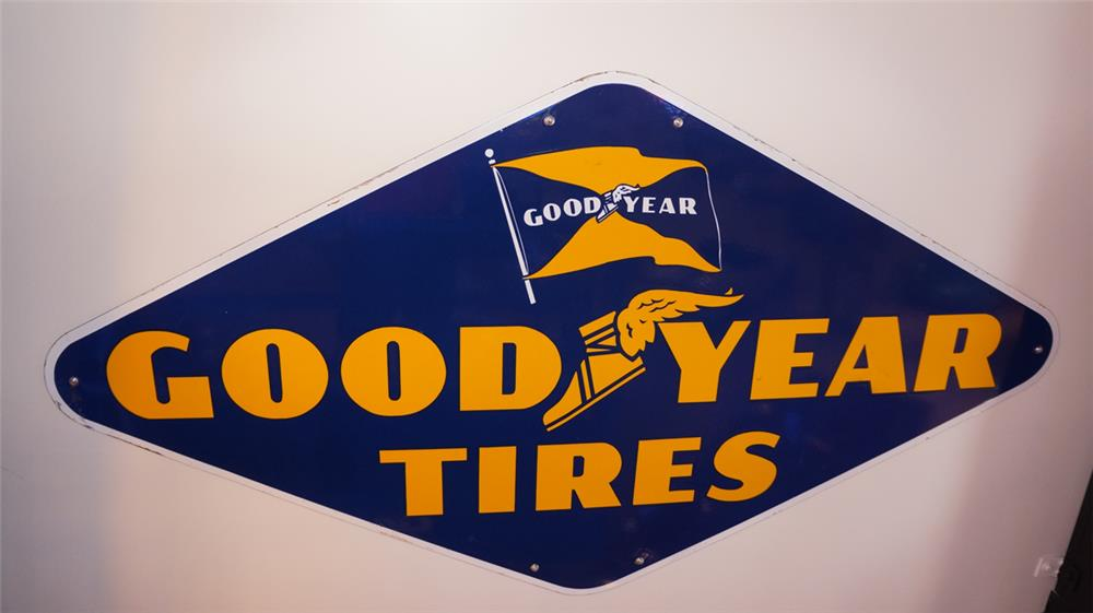 1948 Goodyear Tires single-sided porcelain service station sign - Front 3/4 - 179373