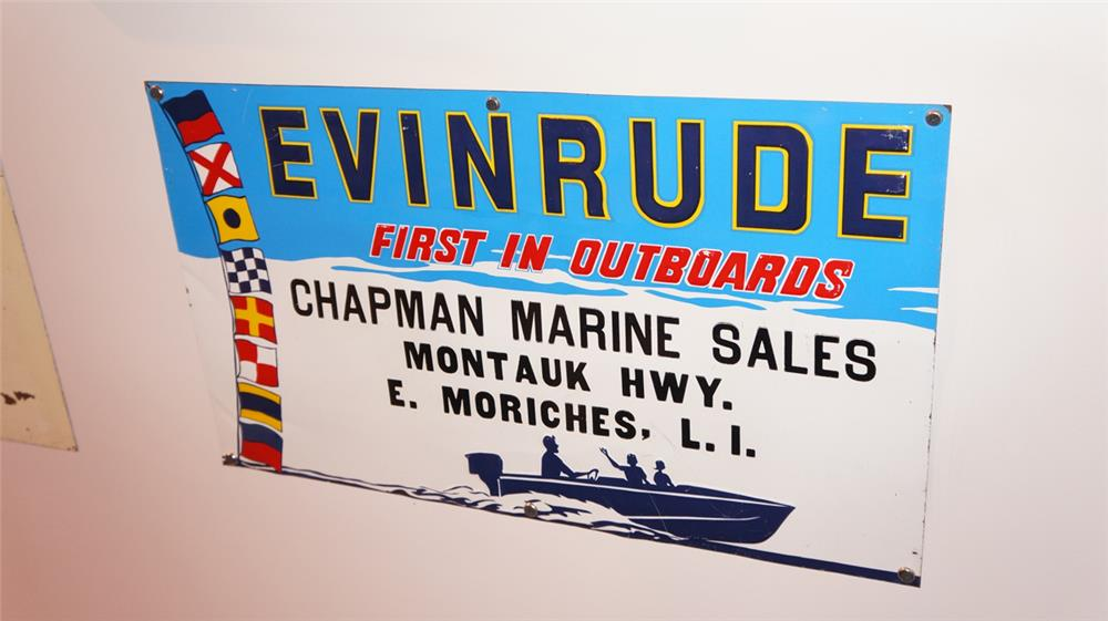 1950's Evinrude Outboard Motors single-sided embossed tin sign. - Front 3/4 - 179376