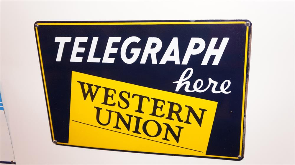 1930's Western Union Telegraph Here single-sided porcelain sign. - Front 3/4 - 179377