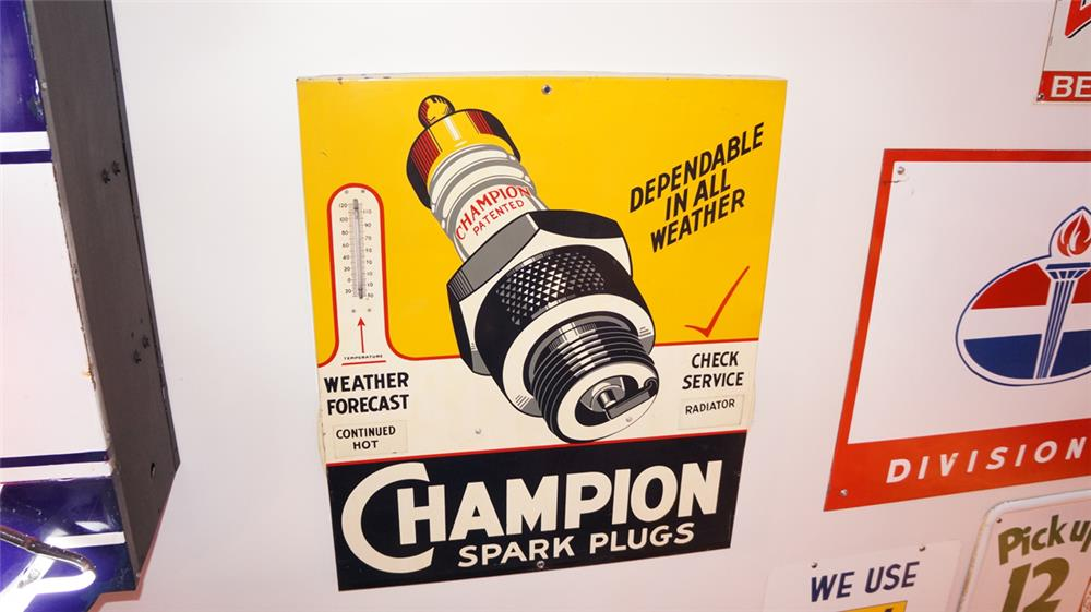 1930's-40's Champion Spark Plugs single-sided tin service station sign - Front 3/4 - 179381