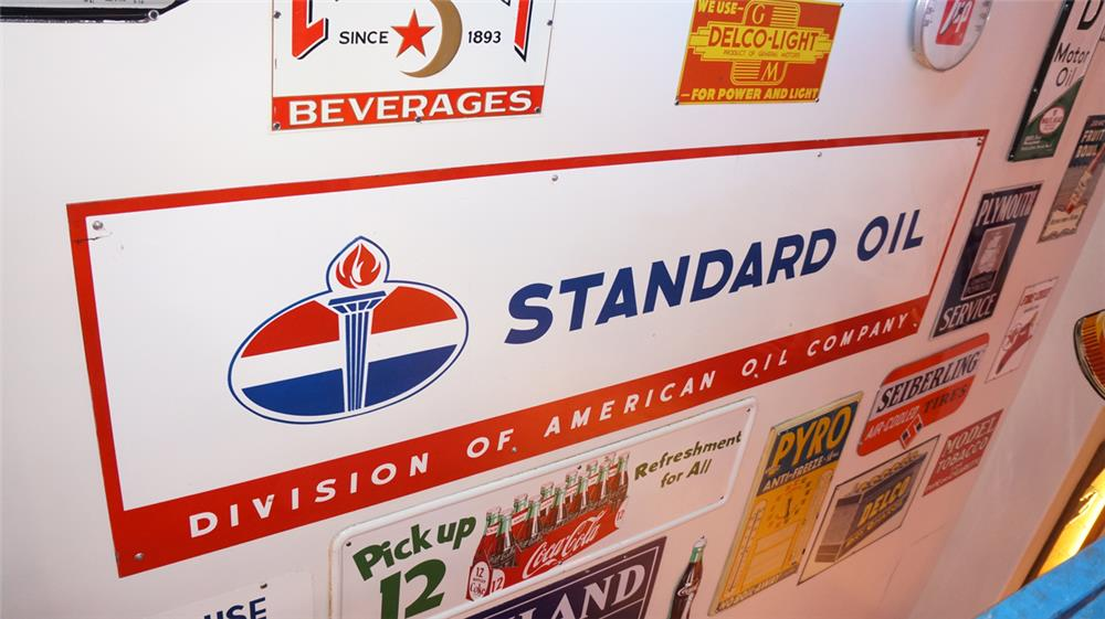 Large late 1950's Standard Oil single-sided porcelain service station sign with flame logo. - Front 3/4 - 179385