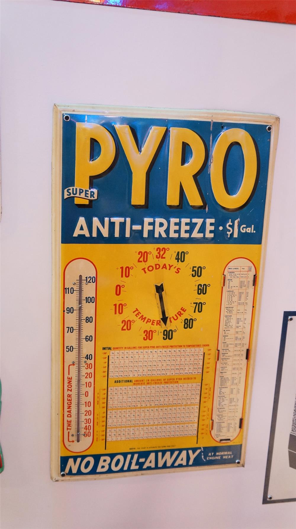 1940 Pyro Anti-Freeze single-sided embossed tin service station sign with thermometer. - Front 3/4 - 179386