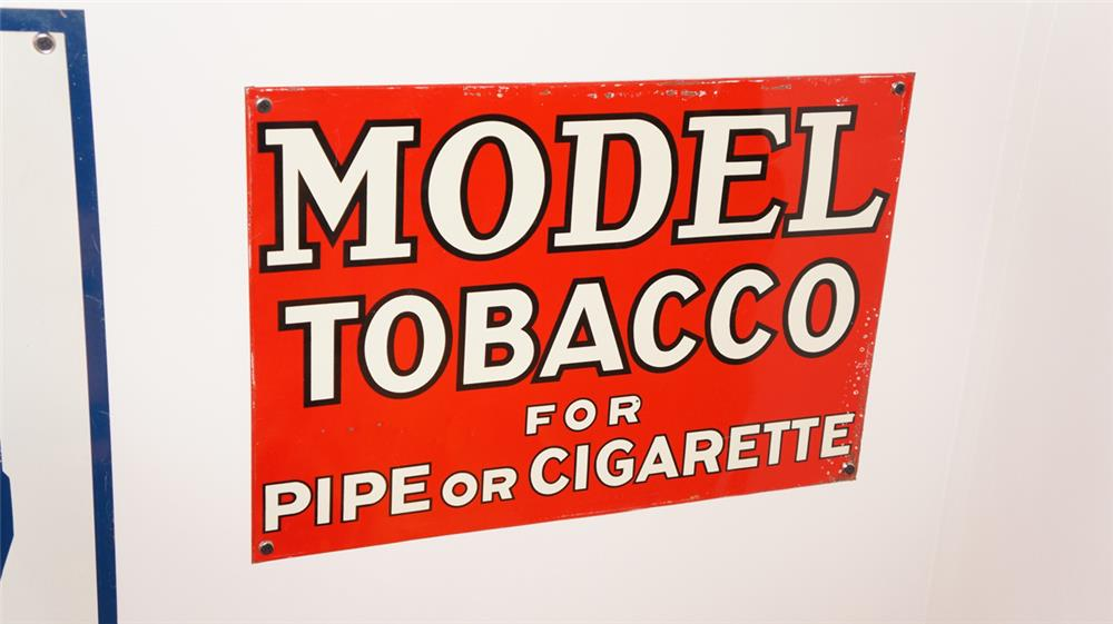 N.O.S. 1938 Model Tobacco for Pipe or Cigarette single-sided tin general store sign. - Front 3/4 - 179393
