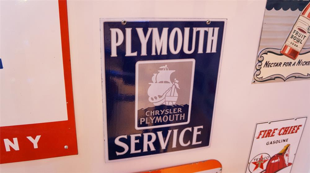 1930's Plymouth Service double-sided porcelain dealership sign - Front 3/4 - 179395