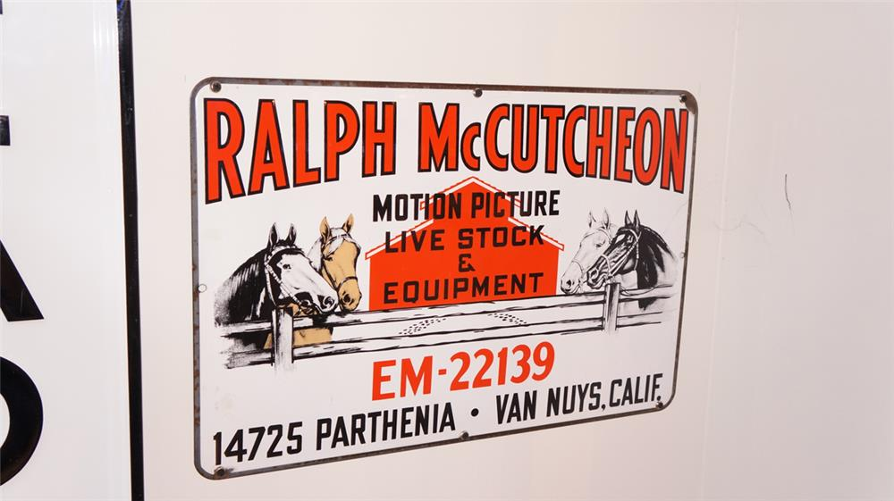 1940's-50's  Ralph McCutcheon Motion Picture Livestock single-sided porcelain sign - Front 3/4 - 179397