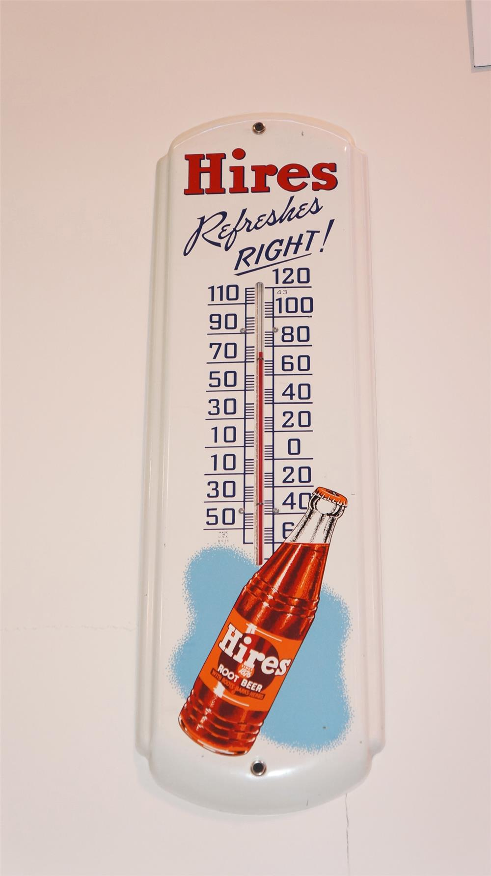 N.O.S. 1943 Hires Root Beer tin thermometer - Front 3/4 - 179404